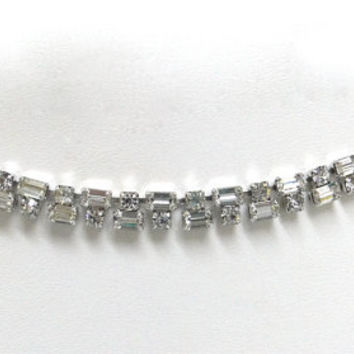 Schoffel & Co crystal necklace  Austrian baguettes chatons. Wedding Bridal jewelry