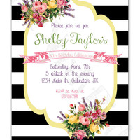 Black and White Stripes with Vintage Flowers Design Printable Birthday Invitation