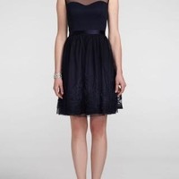 Sleeveless Illusion Neckline Dress with Tie Back - David's Bridal