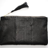 Genuine Snakeskin Black Clutch. Mate Black Snake Skin Clutch. Exotic Leather Pouch. Black Leather Clutch. Luxurius Clutch. Free US Shipping