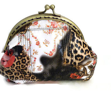 Metal frame coin purse flowers / Coin purse tigress / Wallet in handmade / make up pouch