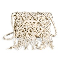 Women's Crochet and Fringe Crossbody Handbag - Ivory