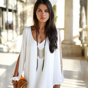 Full Sleeve Chiffon V-Neck Dress