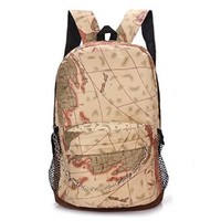 Women's Canvas Map National Flag Fashion Lovely Student School Backpack