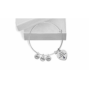 Child Abuse Heart Retractable Charm Bracelet