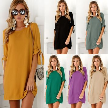 Beam Sleeve Round Neck Pure Color Women Ready Dress Girls Dinner Mini Dresses