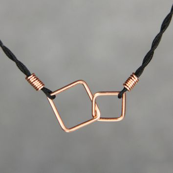 Copper double square link silk cord pendant necklace Bridesmaids gifts Free US Shipping handmade Anni Designs