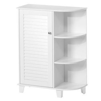 Bathroom Floor Cabinet Free Standing Storage Organizer with 3 Shelves in White