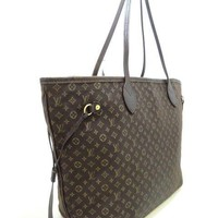 Auth LOUIS VUITTON Neverfull MM M40513 Fusain Monogram Idylle SD2142 Tote Bag