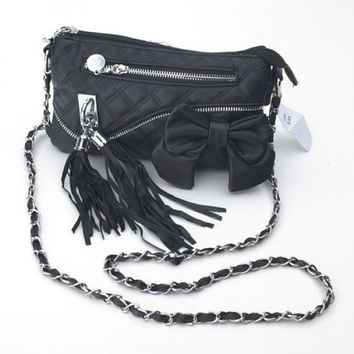 Pleather Black Purse with Bow and Tassel Chian Shoulder Strap