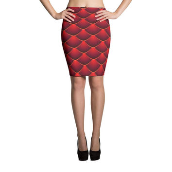 Red Dragon Scale Print Cut & Sew Pencil Skirt