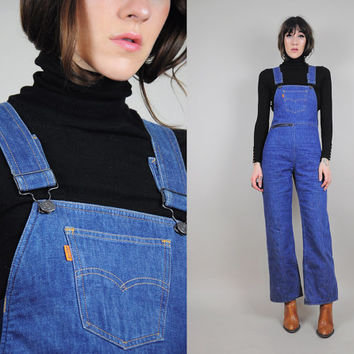 LEVI'S vtg 70's OVERALLS jean ski pants BELL bottom flared dungarees Bibs insulated pants Jumpsuit snow pants Rare