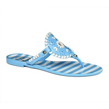 Striped Georgica Jelly Sandal in French Blue & White by Jack Rogers