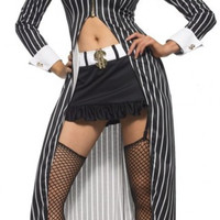 Black Notched Collar Striped Gangster Costume