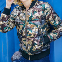 Bet Camo Sequin Bomber