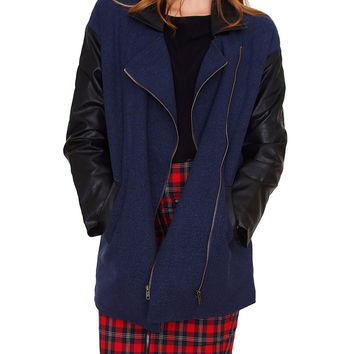 Double Play Coat - Navy/Black