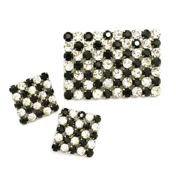 Austrian Rhinestone Demi, Black & White Checked Brooch Earrings Set, Opaque Black and Clear Rhinestones, Wedding Jewelry, Special Occasion