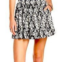 Lily White Women's Black & White Pull On Mini Skater Skirt Size Large