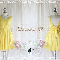 A Party - V Shape - Prom Party Cocktail Bridesmaid Dinner Wedding Night Backless Dress Bright Yellow Glamorous Cocktail Dress
