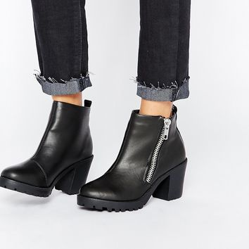 London Rebel Zip Chunky Heeled Ankle Boots