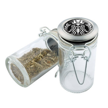 Glass Stash Jar - Starbucks StarWeed - 75ml Storage Container -  Secret Stash Box for Custom Herb Grinder - Stay Fresh Herbs 1/6 oz.