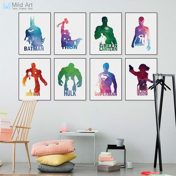 Batman Dark Knight gift Christmas Abstract Geometric Superhero Avengers Batman Pop Movie Infinity War Posters Prints Nordic Wall Picture Home Deco Canvas Painting AT_71_6