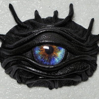 Dragon eye eyepatch black leather. Gothic style eye patch. Burning Man costume.
