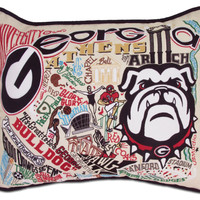 University of Georgia Embroidered Pillow