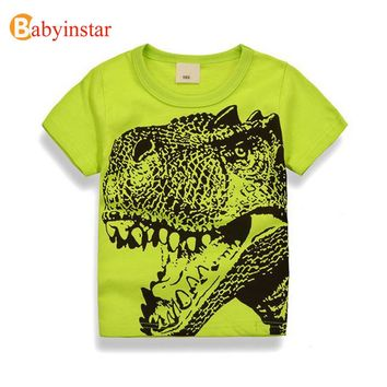 Babyinstar Dinosaur Pattern Boys Girls T-shirt 2017 New Summer Cartoon Children Tops Outerwear Fashion Kid's t-shirts