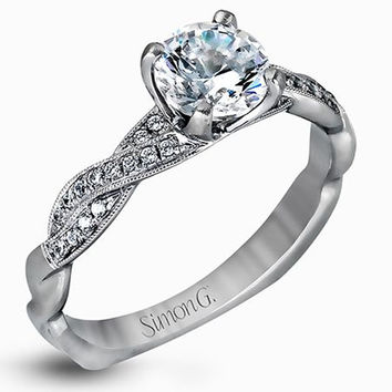 Simon G 18K White Gold 0.10 Carat Diamond Twist Engagement Ring