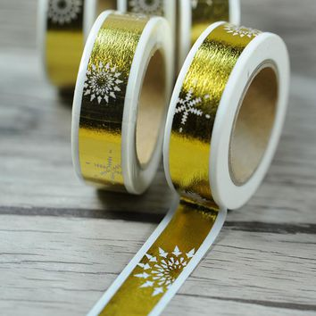 10 pcs/lot DIY Japanese Paper Decorative Adhesive Tape Cartoon Snowflake Bronzing Washi Tape/Masking Tape Stickers 15mm*10mBT3