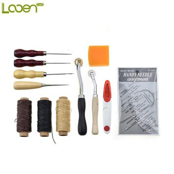 Looen 12pcs Leather Craft Set Carving Drilling Punch Stamp Tools Including Needles Thread Scissors Sewing Tools Set For Women