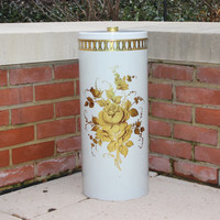 Vintage Decoware tin umbrella holder, waste basket, rose decor