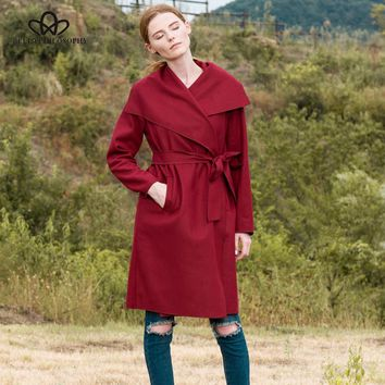 Bella Philosophy 2018 autumn winter new big turn down collar belted sashes long sleeve wool casual coat