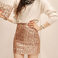 Cheap Temperament Aristocratic Ladies Slim Sequined Skirt