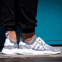 Adidas NMD R1 PK Glitch Camo Grey - Footwear White / Core Black Boost Sport Running Shoes Classic Casual Shoes Sneakers