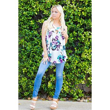 Make You Mine Floral Print Cutout Sleeveless Top
