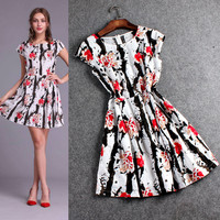 Floral Print Cap Sleeve Floral Swing Mini Dress