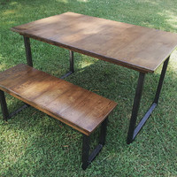 Reclaimed Wood Table with Steel Legs FREE SHIPPING