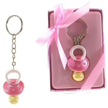 baby pacifier with crystals key chain - pink Case of 48