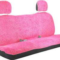 Shaggy Pink Back Seat Bench Seat Cover