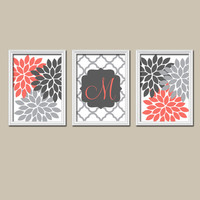 Coral Gray Monogram Artwork Family Name Monogram Print Baby Girl Nursery Wall Art Girl Bedroom Wall Art Girl Nursery Decor Prints Set of 3