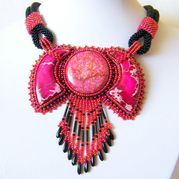 Statement Beadwork Bead Embroidery Pendant Necklace - GARDENS OF PARADISE - Red Sea Sediment Jasper - red - pink - black