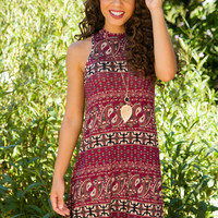 Coralie Paisley Dress - Burgundy