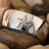 Tungsten Ring Texas Star 10mm Dome Lasered Design