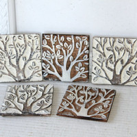 Set 5 Wooden Coasters in Open Box Tree Design , White Painted Coaster Set , Farmhouse Coasters , Square Beverage Coasters