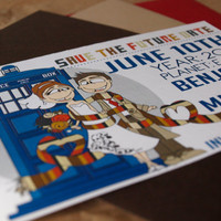 Dr Who Inspired Save the Dates Set of 20 by littletoad on Etsy