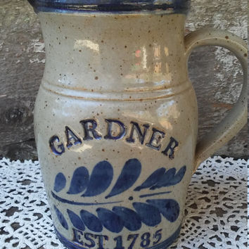 """Stoneware Pottery Pitcher, Earthenware, Blue and Tan speckled, Gardner, Est. 1785, Glazed Pottery Pitcher, Colonial, Primitive, 7"""""""