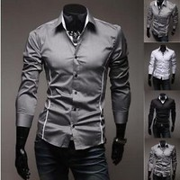 Jeansian Mens Design Casual Dress Shirt Slim Fit Style US XS S M L XL XXL 8384