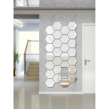 Hexagon Mirror Wall Sticker Set 12pcs